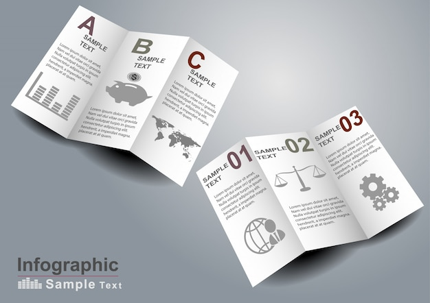 Infographics elements on 3d paper