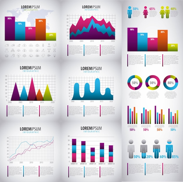 Infographics elements collection business presentation