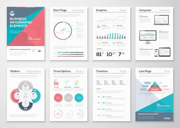 ビジネスパンフレットとプレゼンテーションのためのinfographics要素