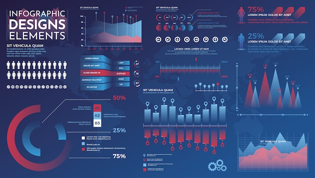 Infographics elements. modern infographic vector template with statistics graphs and finance charts
