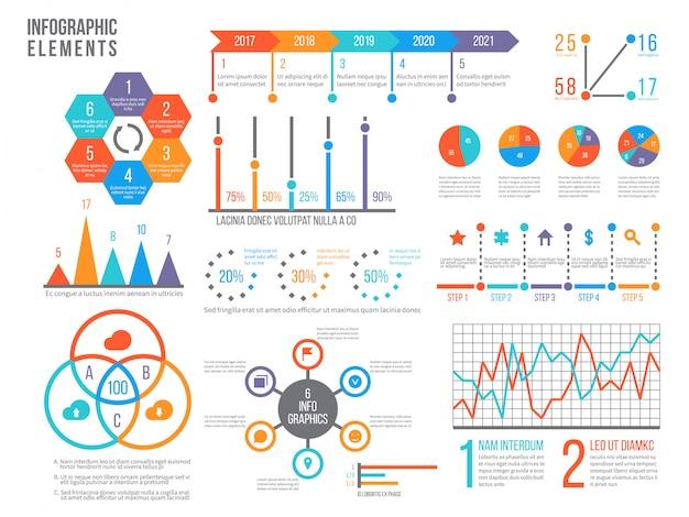 인포 그래픽 요소. 통계 차트, 옵션 순서도 및 타임 라인 다이어그램, 예산 그래프. 비즈니스 프리젠 테이션 벡터 그래픽