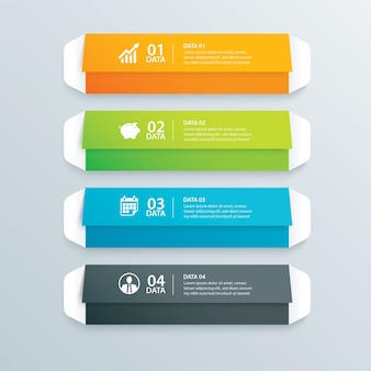 Infographics envelope tab paper index with 4 data template.