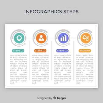 Infographics flat steps template