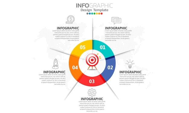 手順とビジネスコンセプトのインフォグラフィック
