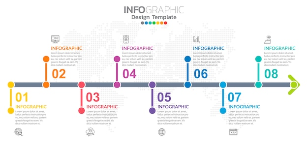 아이콘 및 옵션 또는 단계와 비즈니스를위한 인포 그래픽.