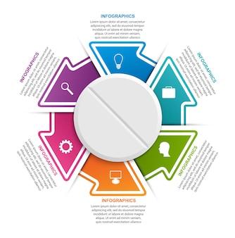 円の矢印の付いた薬のインフォグラフィック