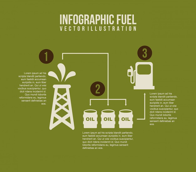 Infographics fuel over green background vector illustration