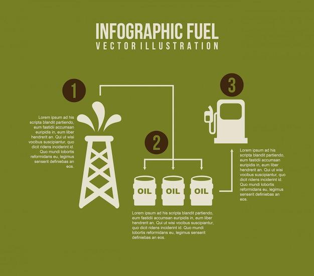 グリーン背景ベクトル図上のインフォグラフィックス燃料