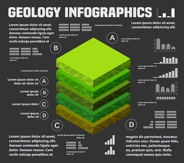 インフォグラフィック自然景観の等角スライスの下の土壌の地質層と地下層