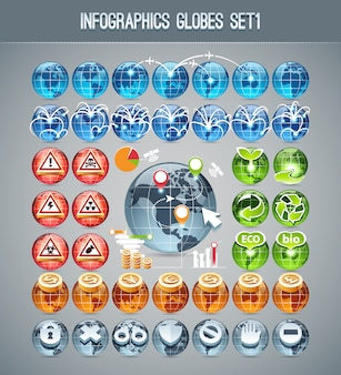 Infographics globes set1
