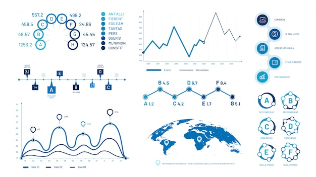 Infographics graph charts. histogram data graphs, bubbles graphic timeline chart and diagram  illustration set
