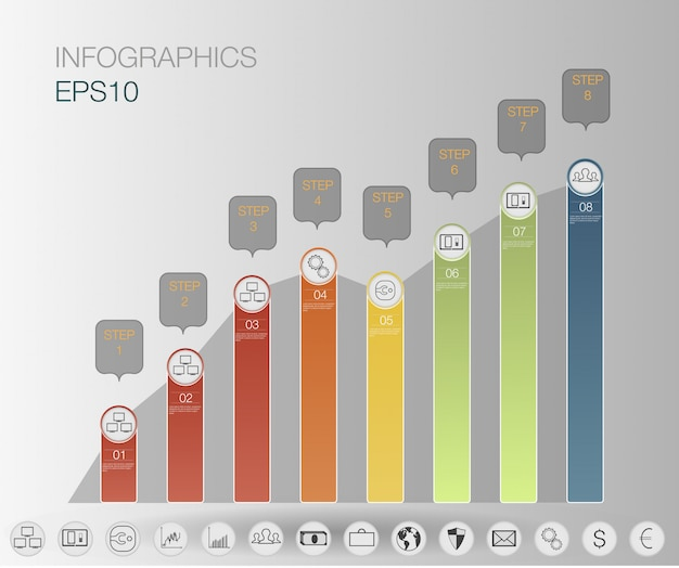Infographics graphic,  steps business, graph finance + set icon. infographics template.