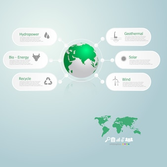 Infographics of green energy in the world