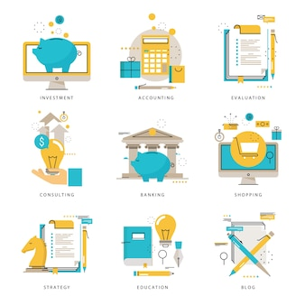 Infographics icons collection for business strategy, e-learning, blog, online shopping, banking, evaluation, financial consulting vector illustration. line icons set. flat design web graphics elements