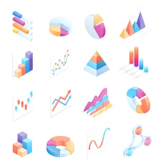 Infographics isometric elements icons illustrations