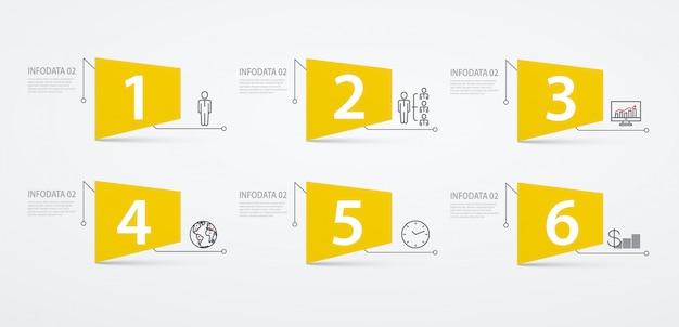 インフォグラフィックラベルオプションまたは手順。事業コンセプト、ブロック図。