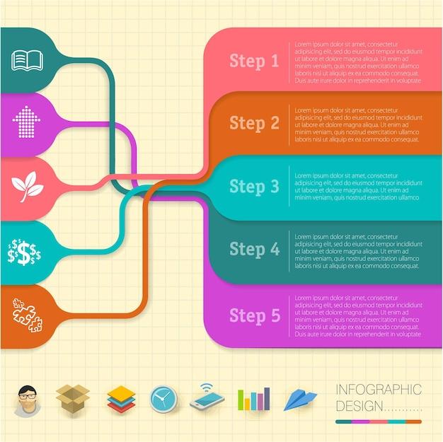 Infographics 레이아웃 단계별 옵션 템플릿. 비즈니스 프레젠테이션, 타이밍 레이아웃, 다이어그램, 연례 보고서, 배너, 웹 디자인 및 파워 포인트.