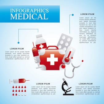 Infographics medical  over blue background vector illustration