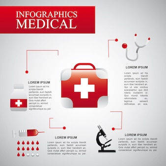 Infographics medical  over gray background vector illustration