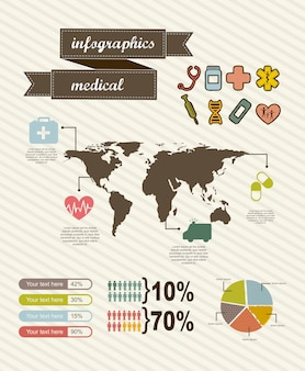 Infographics of medical vintage style vector illustration