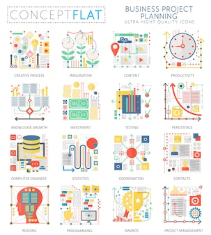 Infographics mini concept business finance planning icons