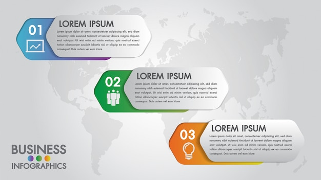 Infographics modern template for business with 3 steps icons