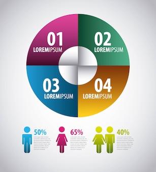インフォグラフィックス円グラフの図のパーセンテージのステップ