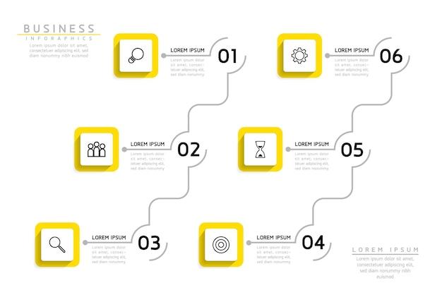 인포 그래픽. 프레젠테이션 및 차트. 단계 또는 프로세스. 옵션 번호 워크 플로 템플릿 디자인. 6 단계.