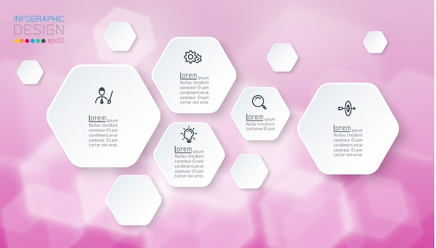 Infographics on purple bokeh with hexagon shape.