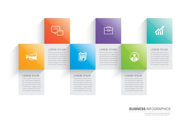 Infographics rectangle paper index with 6 data template.