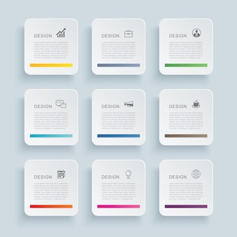 Infographics rectangle paper index with nine data template.