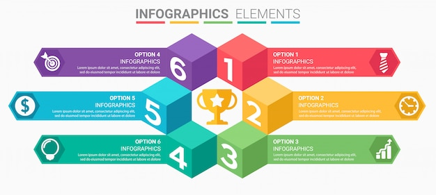 Infographics s with numbers and arrows