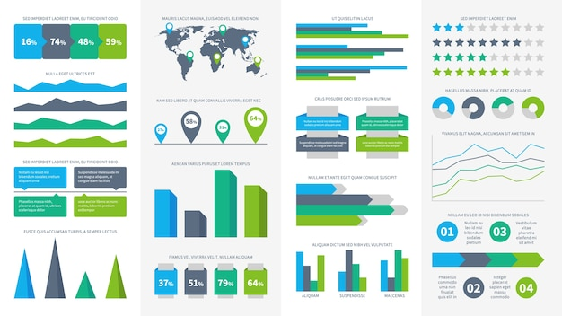 Infographics set. charts, diagrams and graphs. flowchart, data bars and timeline for report presentation,  infographic symbol of charting time infograph economic growth rate elements