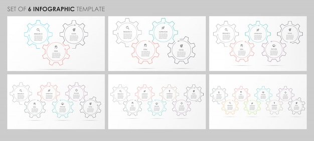 Infographics set with icons and 3, 4, 5, 6, 7, 8 options or steps. business concept.
