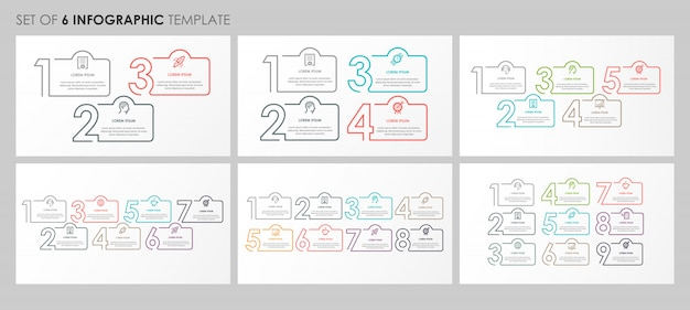 Infographics set with icons and 3, 4, 5, 7, 8, 9 options or steps. business concept.