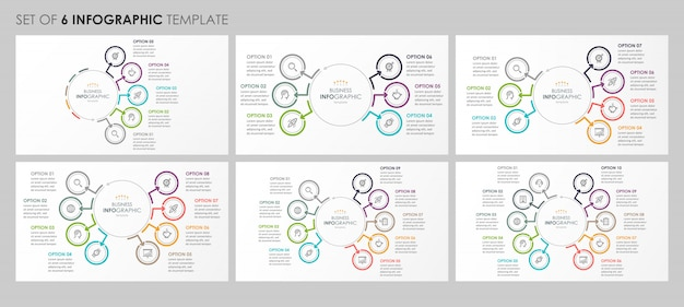 Infographics set with icons and 5, 6, 7, 8, 9, 10 options or steps. business concept.