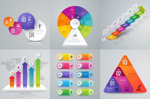 Infographics set  with steps and options