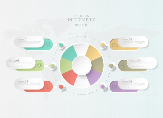 Infographics seven element circles and icons for present business concept.