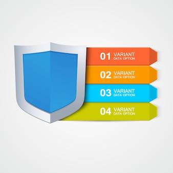 インフォグラフィックシールド。デザイン要素。データ保護