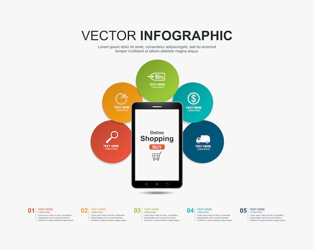 Infographics shopping online concept template