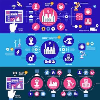 인포 그래픽스 스마트 인더스트리 4.0. 인공 지능. 자동화 및 사용자 인터페이스 개념. 사용자가 태블릿에 연결하고 사이버 물리 시스템과 데이터를 교환합니다. 배너 세트입니다.