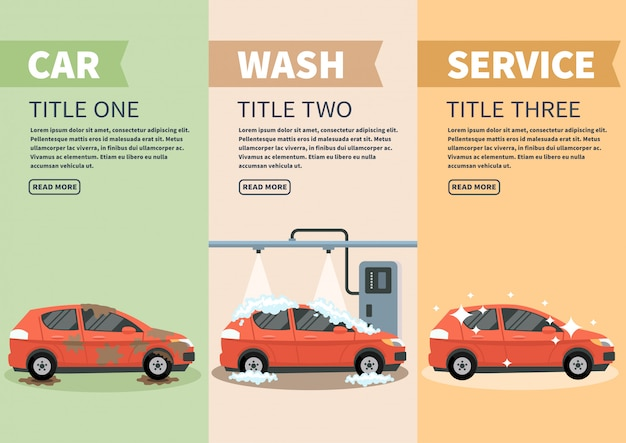 Infographics stages car wash vector illustration.