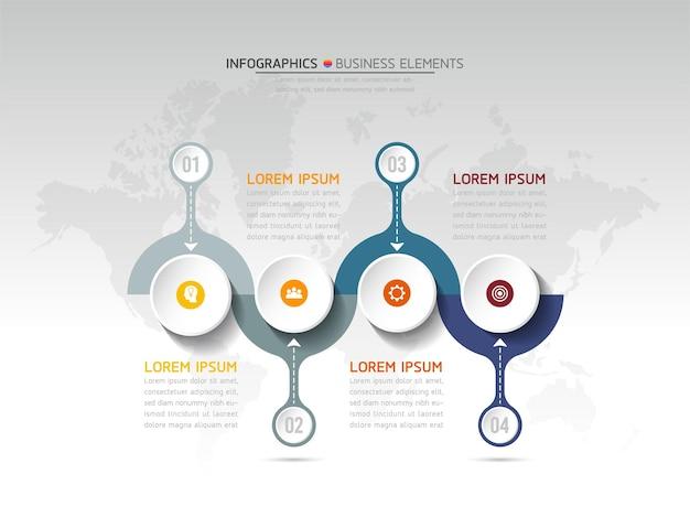 Инфографика. шаги или процессы. варианты номер рабочего процесса шаблон дизайна. 4 шага.