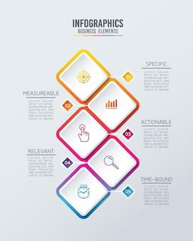 인포 그래픽. 단계 또는 프로세스. 옵션 번호 워크 플로 템플릿 디자인. 5 단계