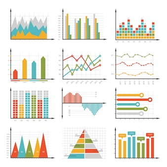 Infographics symbols. business graphs and diagrams set
