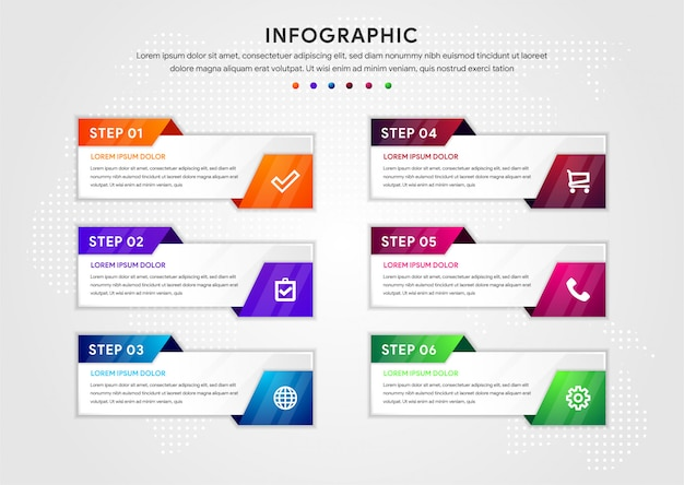 Infographics tab in horizontal background index with six data template.