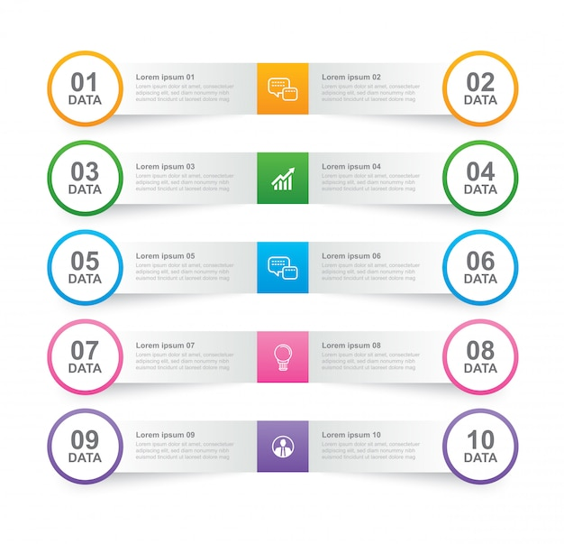 Infographics tab in horizontal paper index with 10 data template.