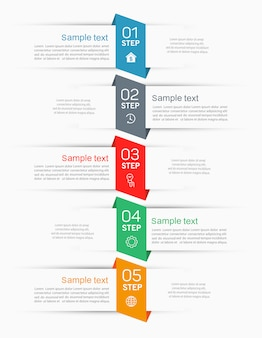Infographics tab paper index template   with 5 steps