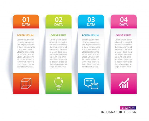 Infographics tab paper index with 4 data template