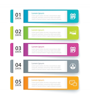Infographics tab paper index with 5 data template